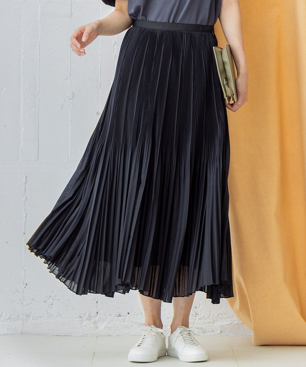 ICB 【VERY3月号掲載】Airy Boile プリーツフレアスカート ブラック系