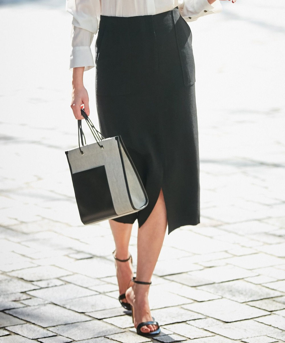 ICB 【セットアップ】Synthetic Linen スカート ブラック系