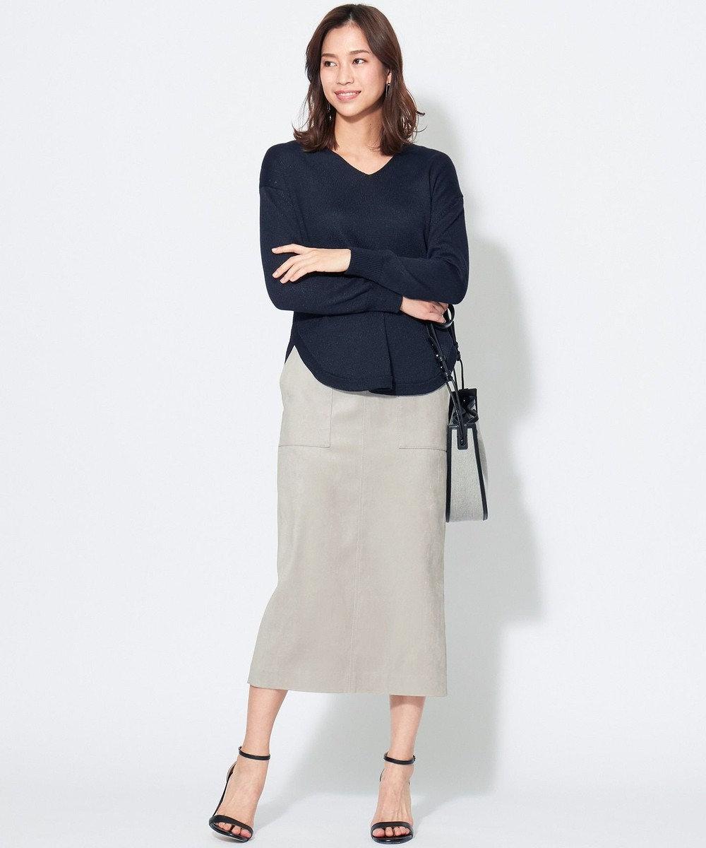 ICB L 【WEB&一部店舗限定】ストレッチスエード スカート ライトグレー系