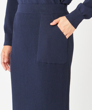 ICB 【WEB限定】Cotton Stretch ニットスカート [限定]ネイビー系