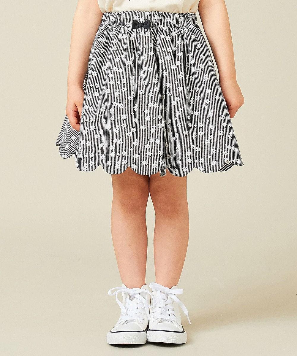 any FAM KIDS 【100‐130cm】ストライプ花柄プリント スカート ブラック系1