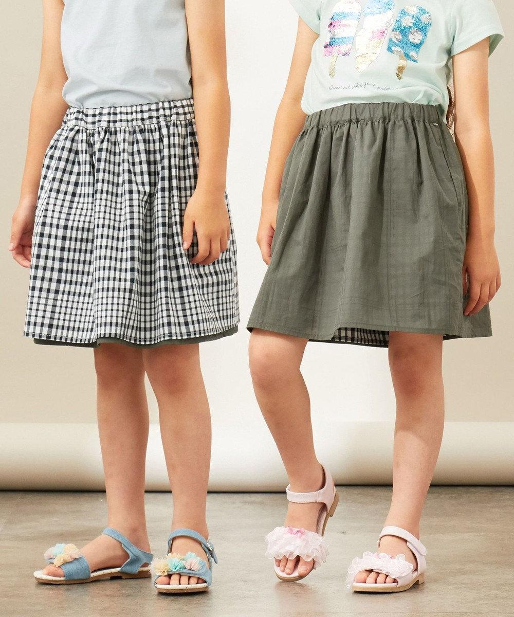 any FAM KIDS 【140-150cm】リバーシブルスカート ギンガムチェック