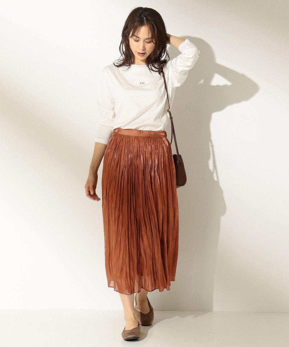 any FAM 【洗える】シャイニーサテン スカート ブラウン系