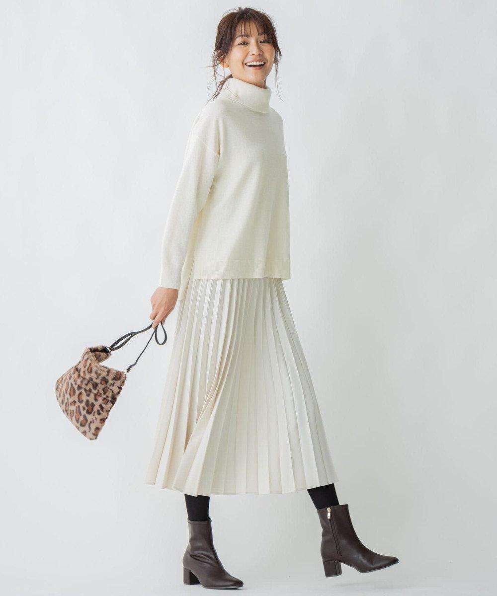 any FAM 【定番人気・親子でお揃い】ウーリッシュフラノ プリーツスカート アイボリー系
