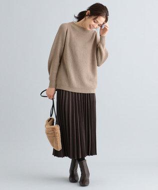 any FAM 【定番人気・親子でお揃い】ウーリッシュフラノ プリーツスカート ダークブラウン系