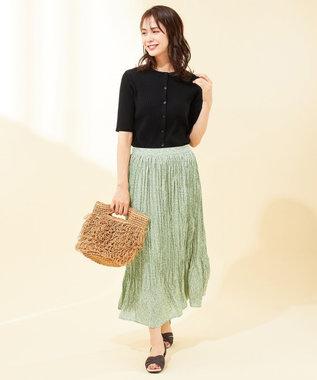 any FAM 【洗える】フラワープリント スカート グリーン系3