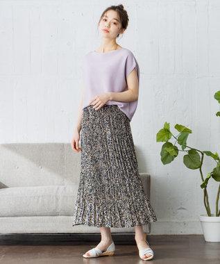 any FAM 【洗える】フラワープリント スカート ネイビー系3