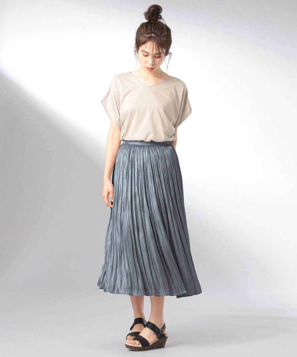 any FAM 【追加生産決定!】【親子でお揃い】オーロラサテンギャザー スカート ダルブルー系