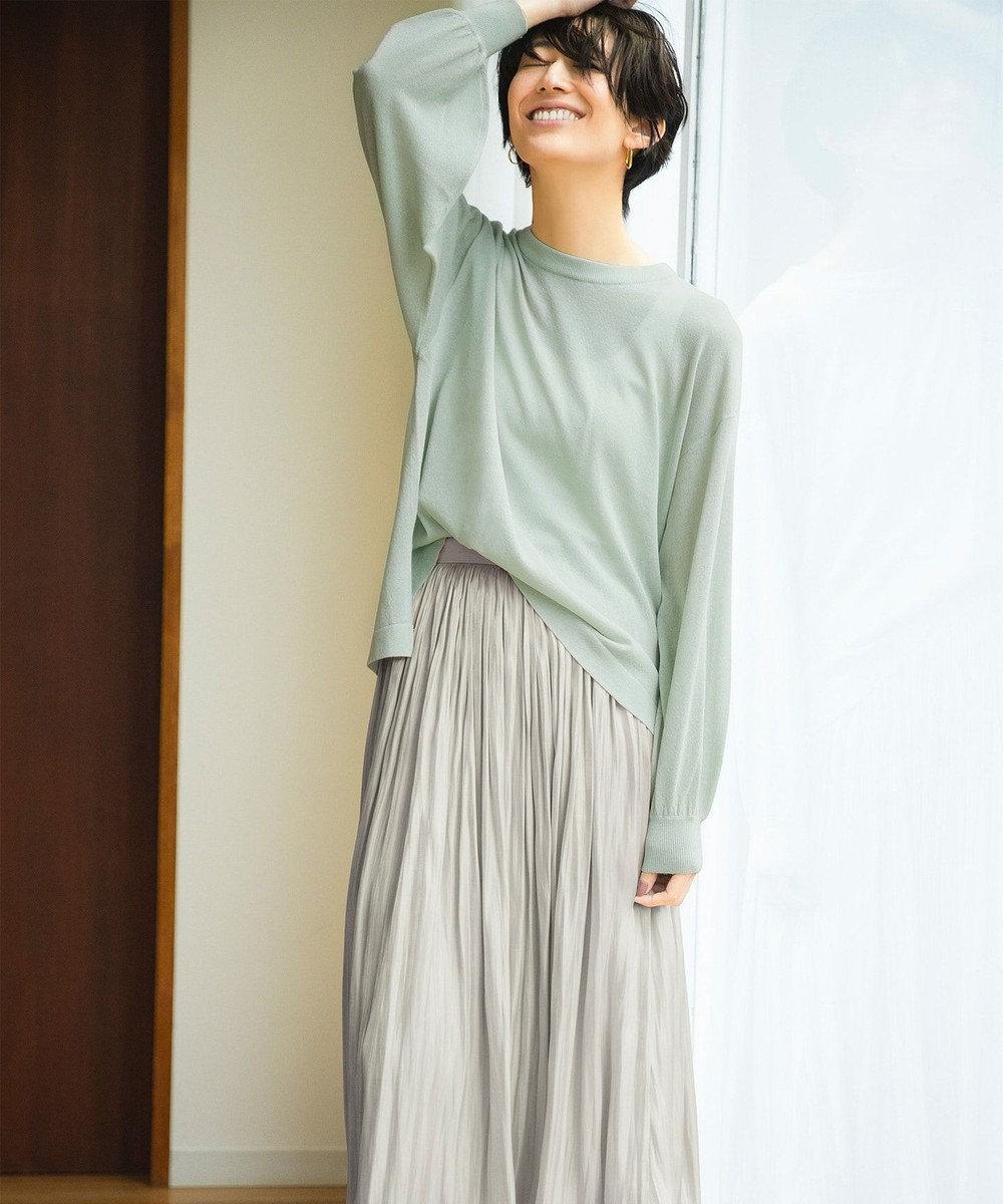 any FAM 【洗える】シャイニーサテン スカート ライトグレー系