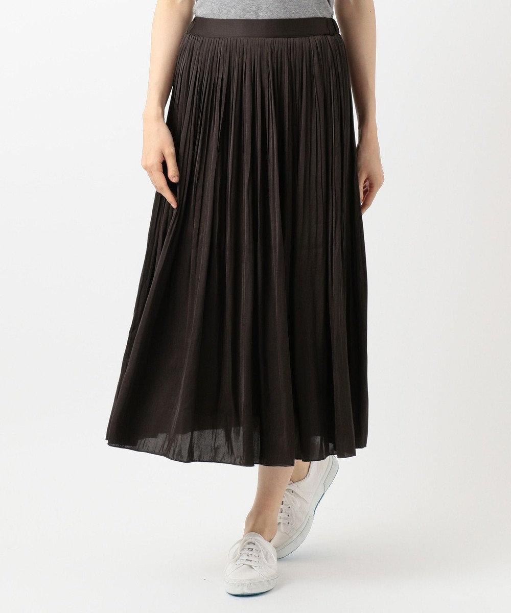 any FAM L 【定番人気・洗える】ヴィンテージサテンプリーツ スカート ダークブラウン系