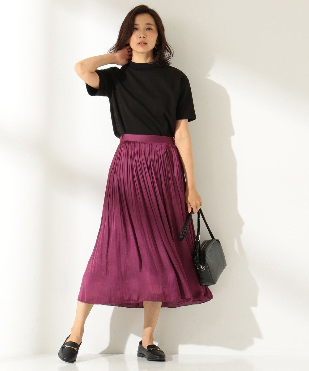 any FAM L 【定番人気・洗える】ヴィンテージサテンプリーツ スカート ワイン系