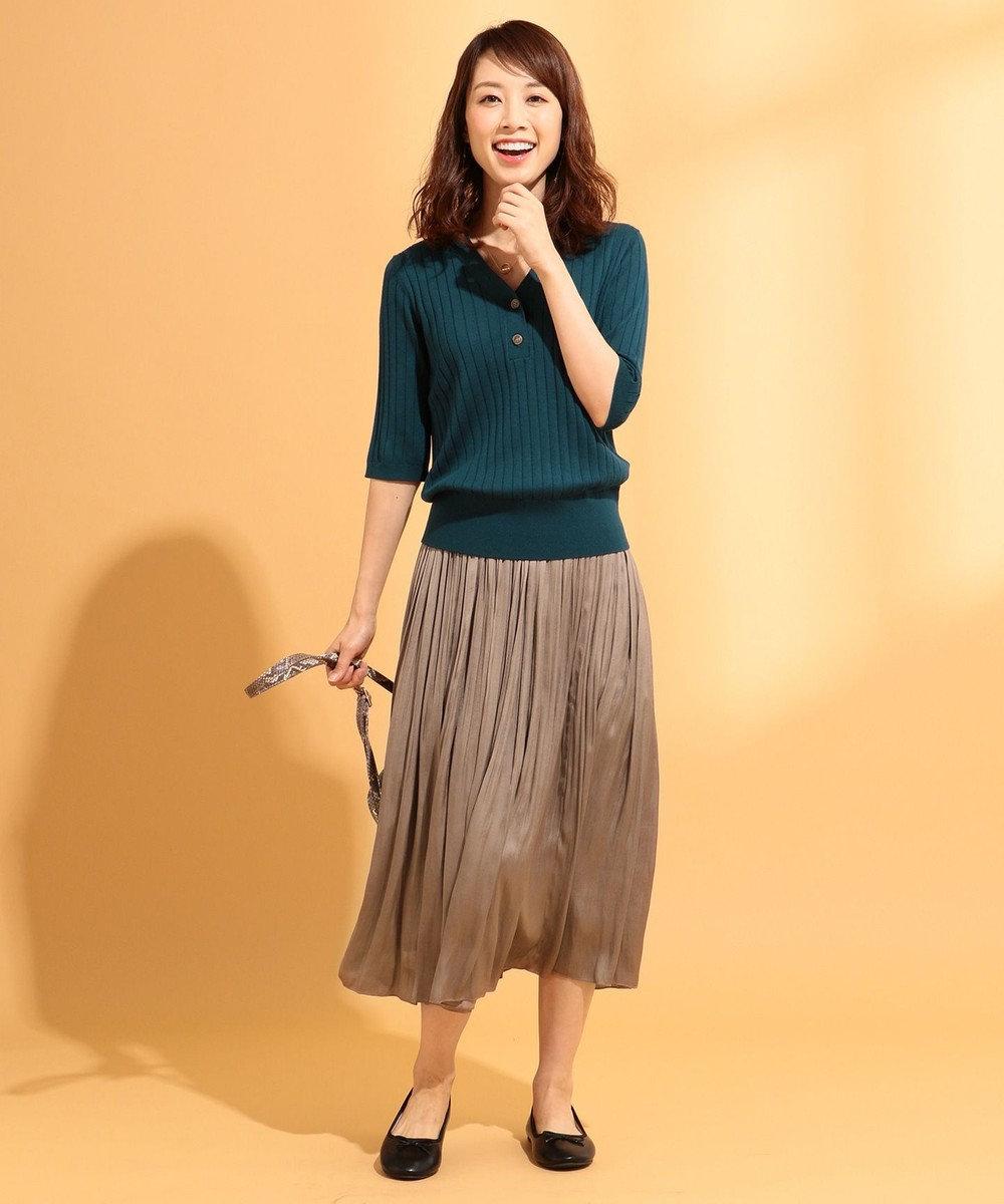 any FAM L 【定番人気・洗える】ヴィンテージサテンプリーツ スカート キャメル系