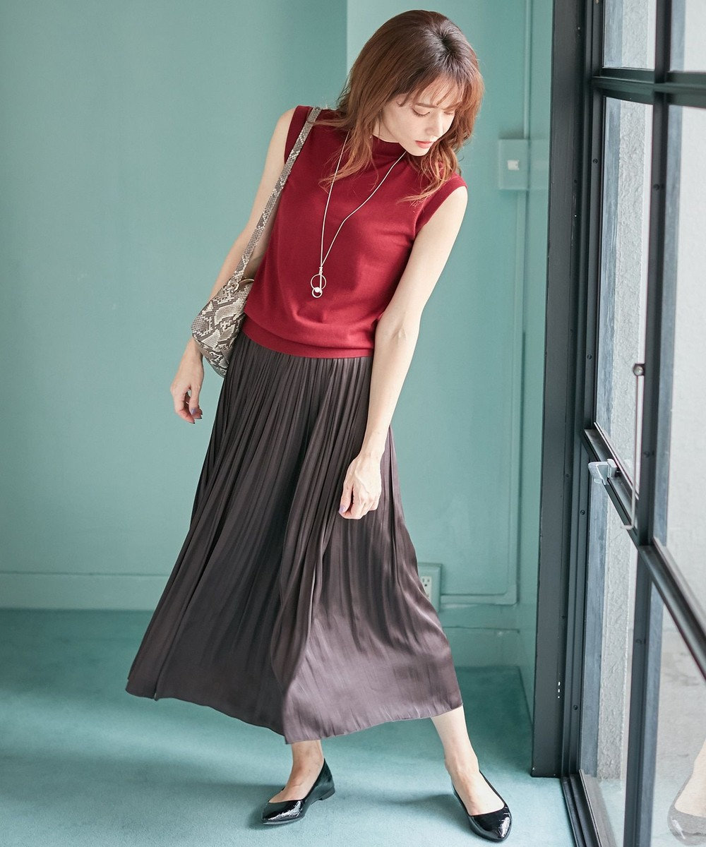any FAM L 【定番人気・洗える】ヴィンテージサテンプリーツ スカート グレー系