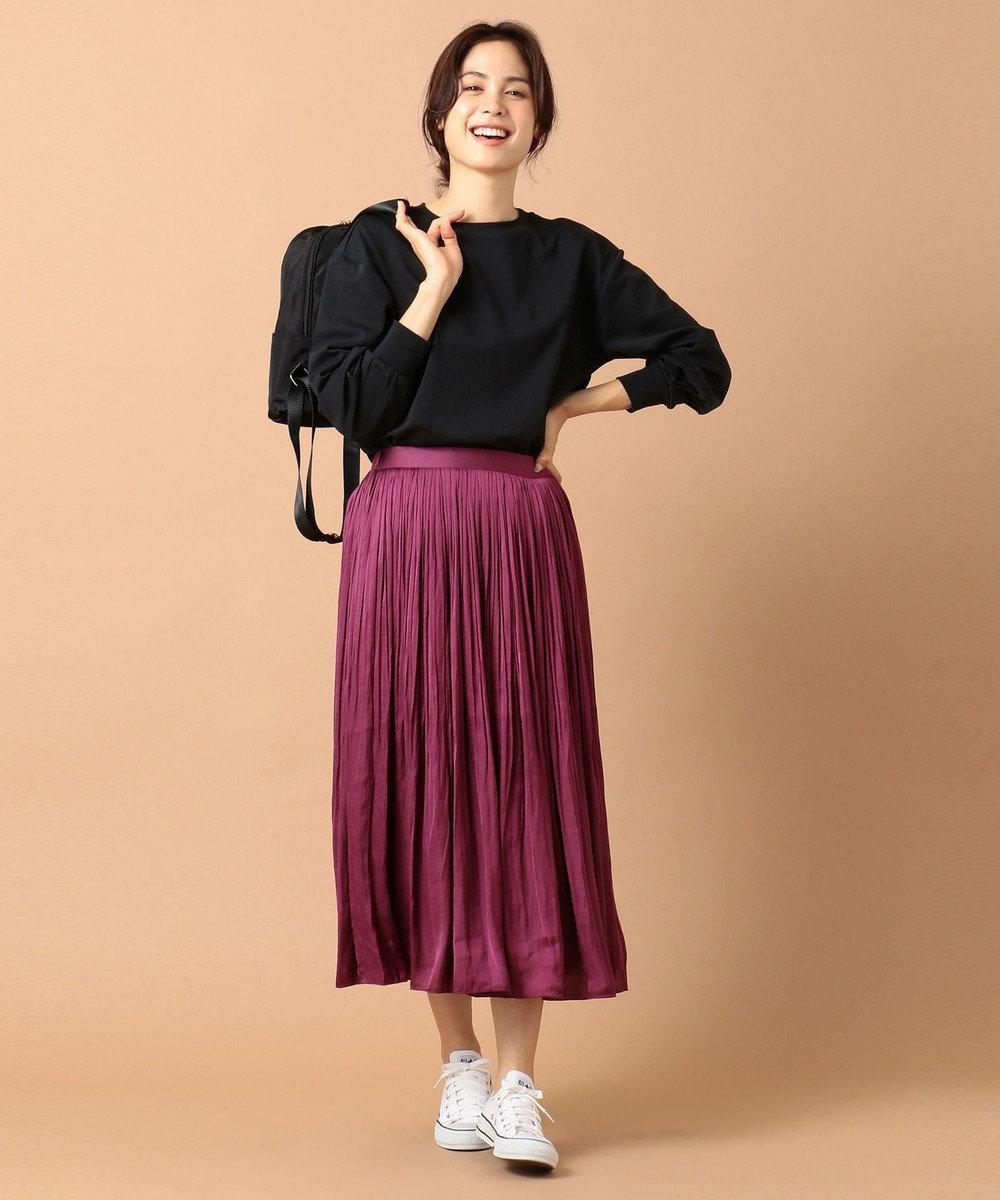 any FAM 【定番人気・洗える】ヴィンテージサテンプリーツ スカート ワイン系