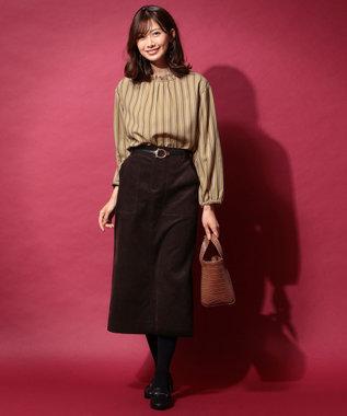any FAM L 【洗える】コットンコーデュロイ スカート ブラウン系