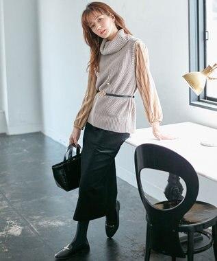 any FAM L 【洗える】コットンコーデュロイ スカート ブラック系