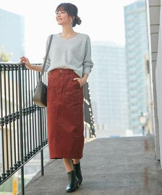 any FAM L 【洗える】コットンコーデュロイ スカート キャメル系