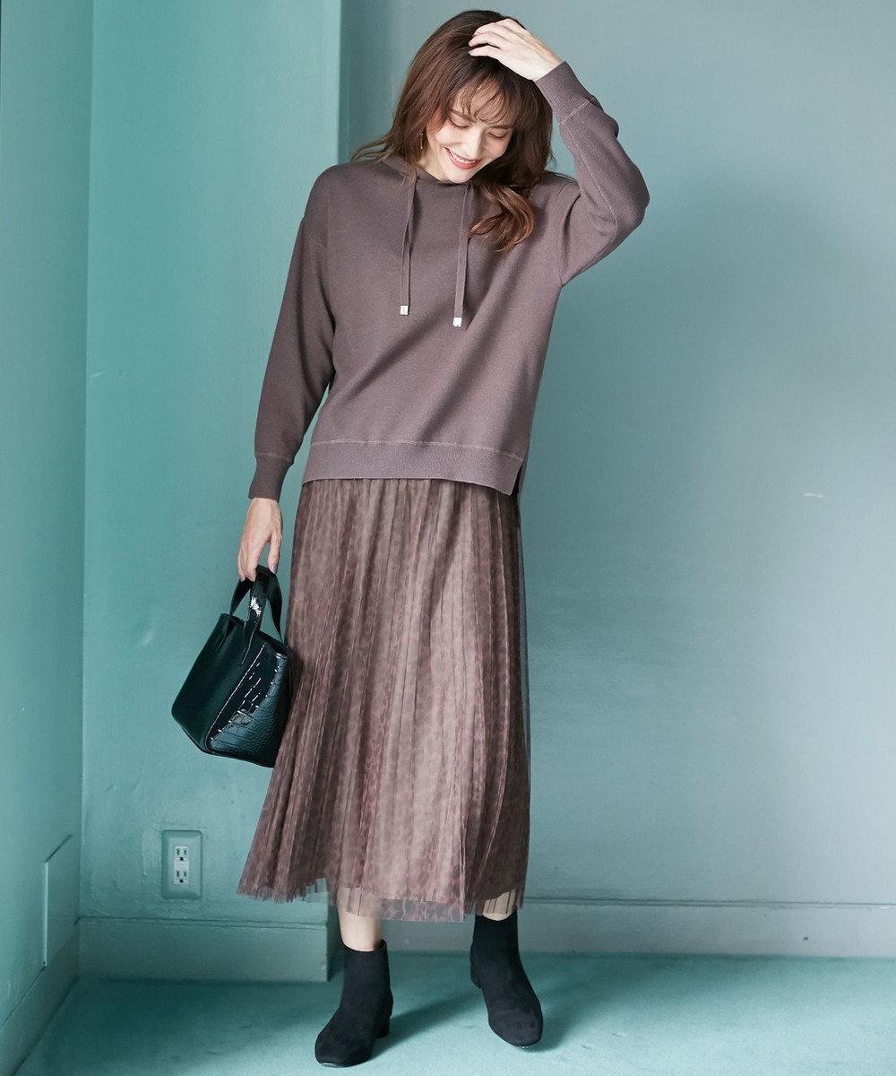 any FAM L 【洗える】チュールレオパードプリーツ スカート ブラウン系5