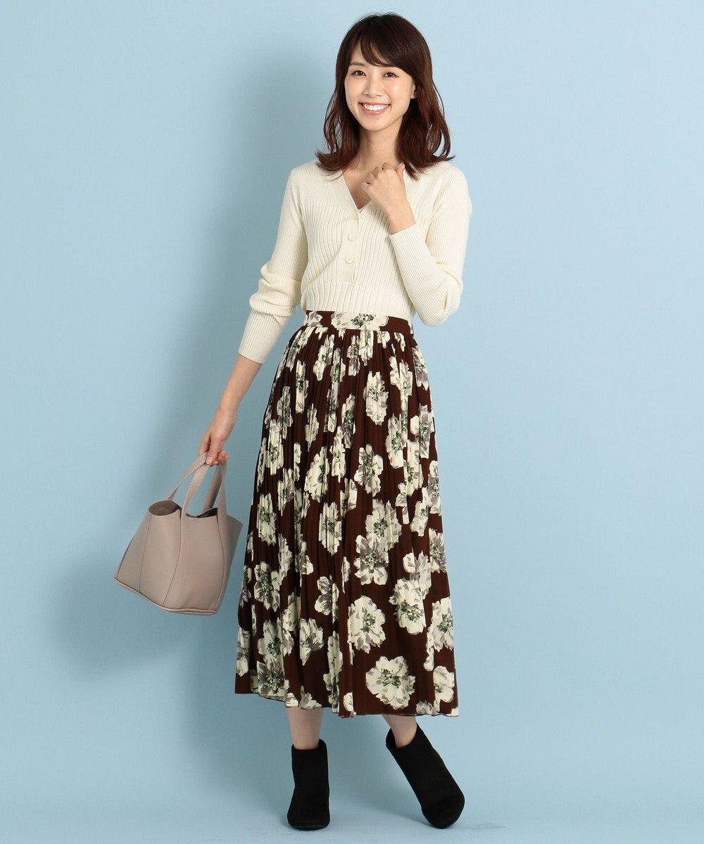 any FAM L 【洗える】ビッグフラワー プリーツスカート ブラウン系5