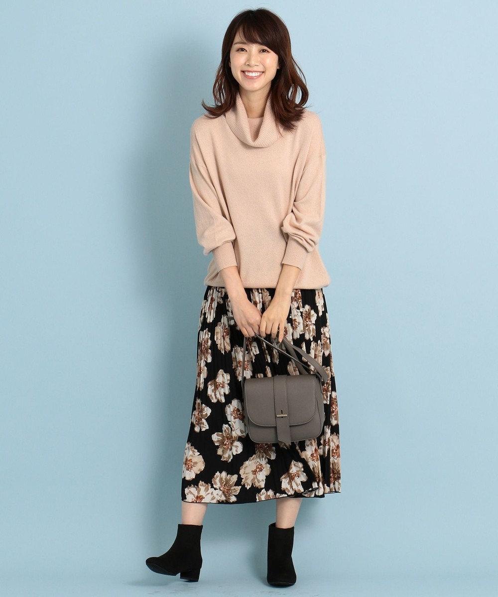 any FAM L 【洗える】ビッグフラワー プリーツスカート ブラック系5