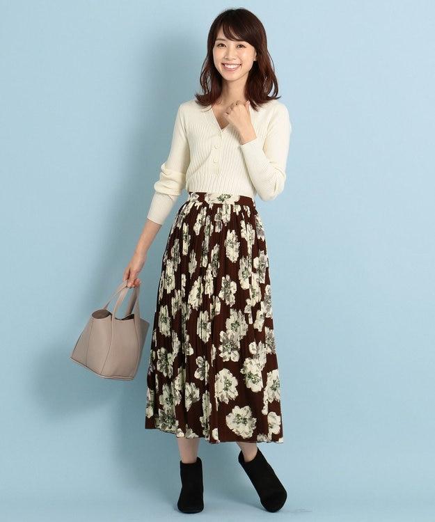 any FAM L 【洗える】ビッグフラワー プリーツスカート