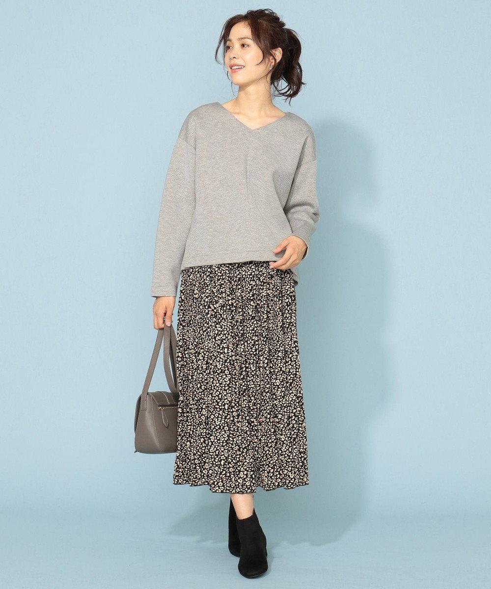 any FAM L 【洗える】パウダリーサテン プリーツスカート ブラック系5