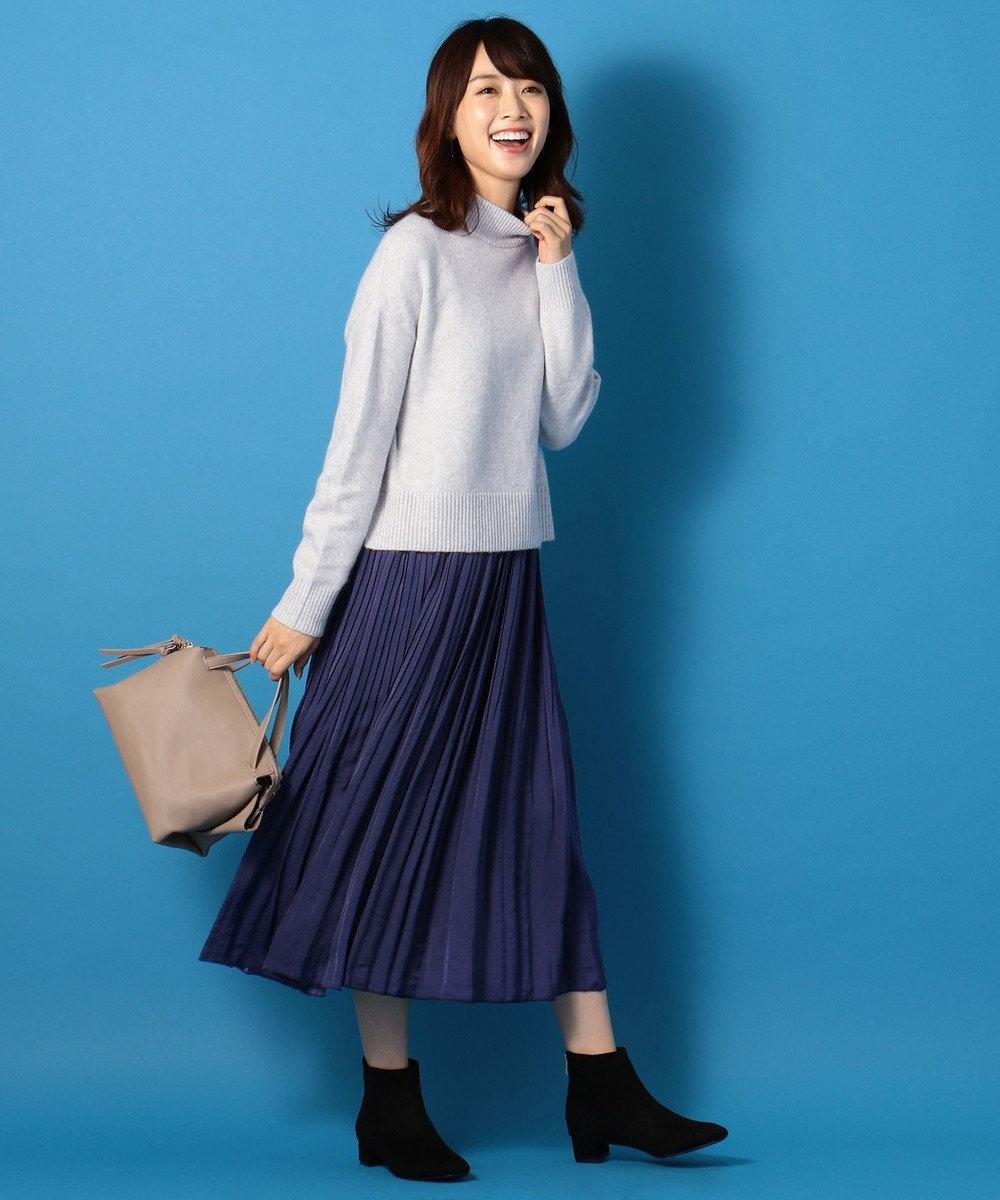 any FAM L 【洗える】パウダリーサテン プリーツスカート ネイビー系