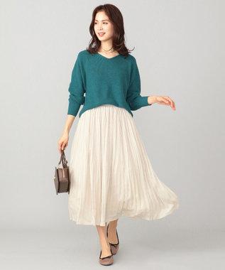 any FAM L 【洗える】パウダリーサテン プリーツスカート ベージュ系