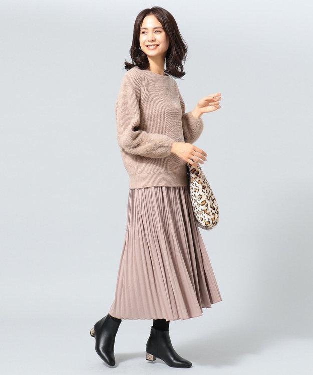 any FAM L 【洗える】パウダリーサテン プリーツスカート