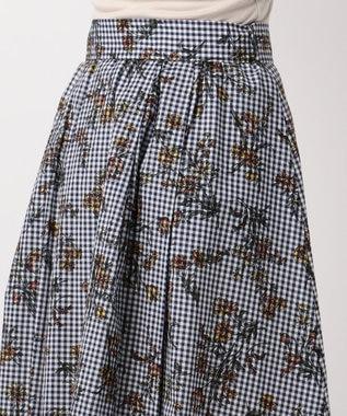 any FAM ボタニカルフラワープリント スカート ネイビー系3