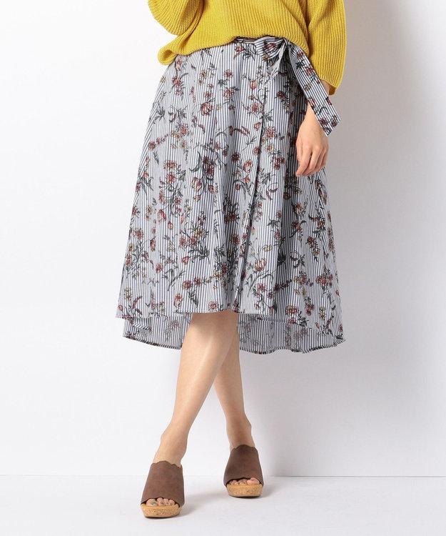 any FAM ボタニカルフラワープリント スカート