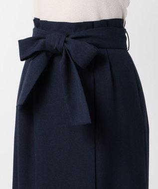 any FAM 麻調タックミモレ スカート ネイビー系
