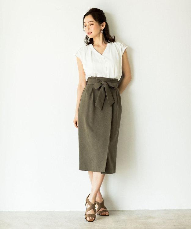any FAM 麻調タックミモレ スカート