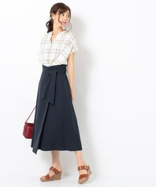 any FAM 【WEB限定】ラップ風タックロング スカート ネイビー系