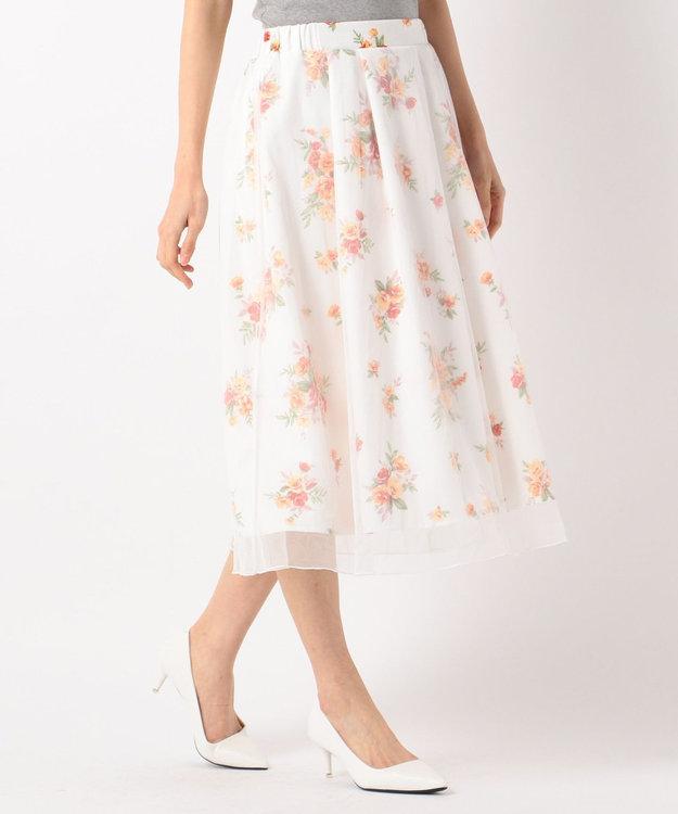 any FAM チュールフラワープリント スカート