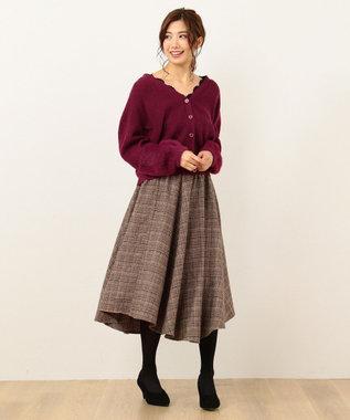 any FAM イレギュラーヘムツイード フレアスカート キャメル系3