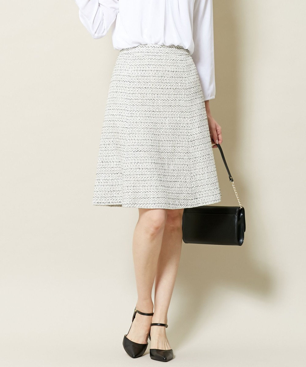 J.PRESS LADIES S ファンシーラメツイード スカート ホワイト系