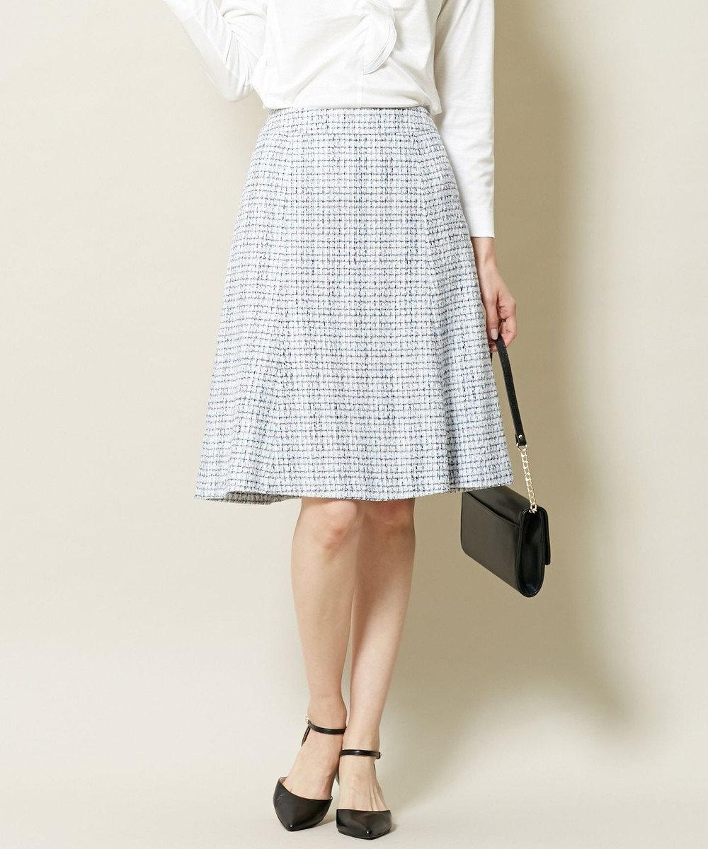 J.PRESS LADIES S ファンシーラメツイード スカート サックスブルー系