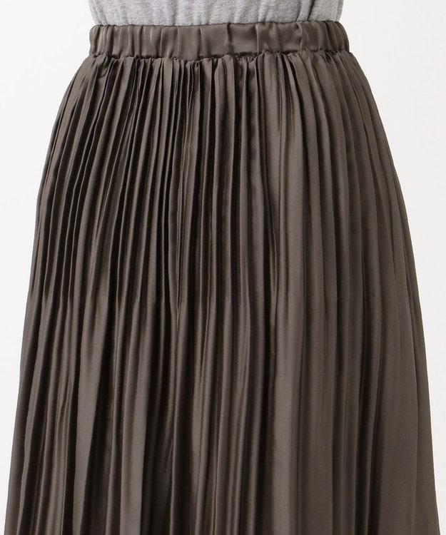 J.PRESS LADIES S 【Sサイズ限定】洗えるビンテージサテン プリーツスカート [WEB限定]カーキ系