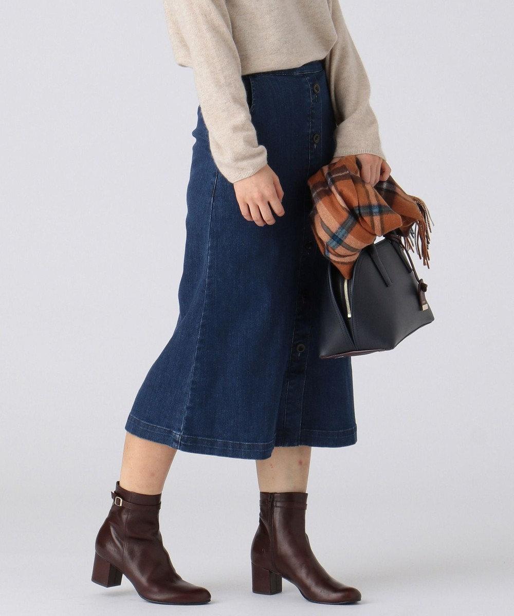 J.PRESS LADIES S 【驚きの伸縮性】10オンスストレッチ デニムスカート ブルー系