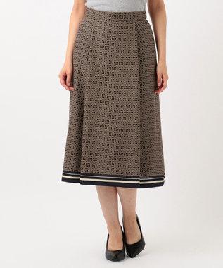 J.PRESS LADIES L 【洗える】ジオメトリックプリント スカート ネイビー系5