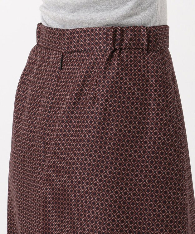 J.PRESS LADIES L 【洗える】ジオメトリックプリント スカート