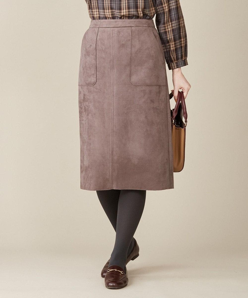 J.PRESS LADIES 【洗える】スウェードダンボール スカート ブラウン系