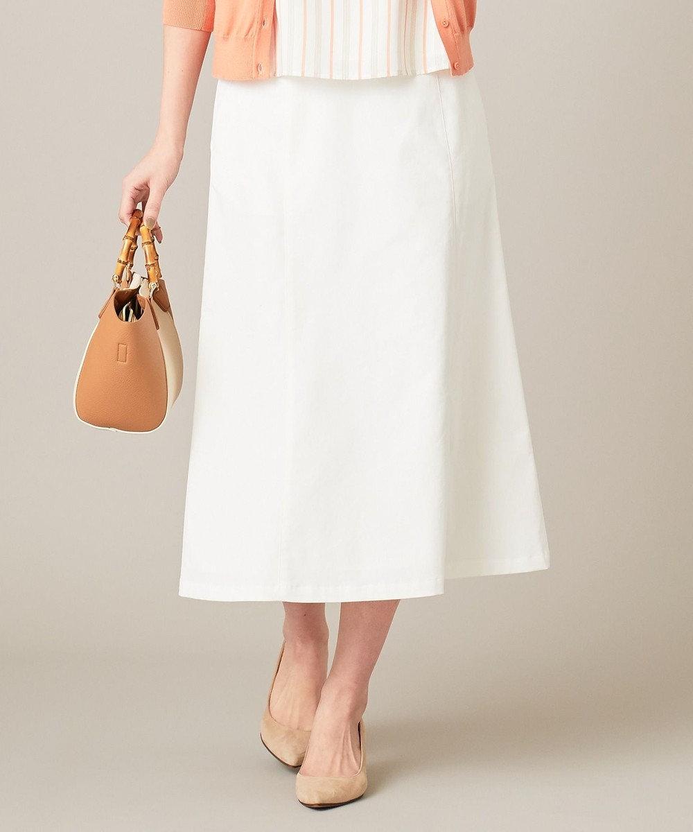 J.PRESS LADIES 【透けにくい】洗えるTCリネンツイル スカート ホワイト系