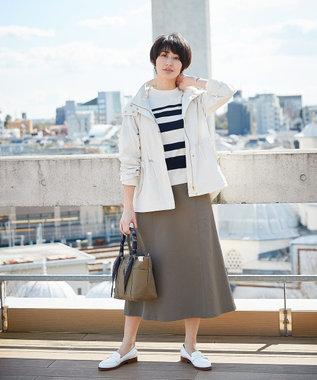 J.PRESS LADIES S 【透けにくい】洗えるTCリネンツイル スカート カーキ系