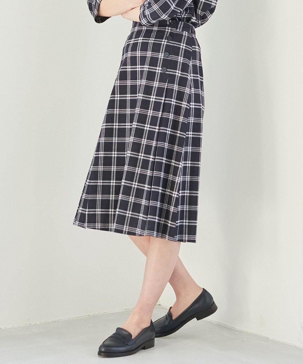 J.PRESS LADIES 【洗える】チェックジャカード スカート ネイビー系5