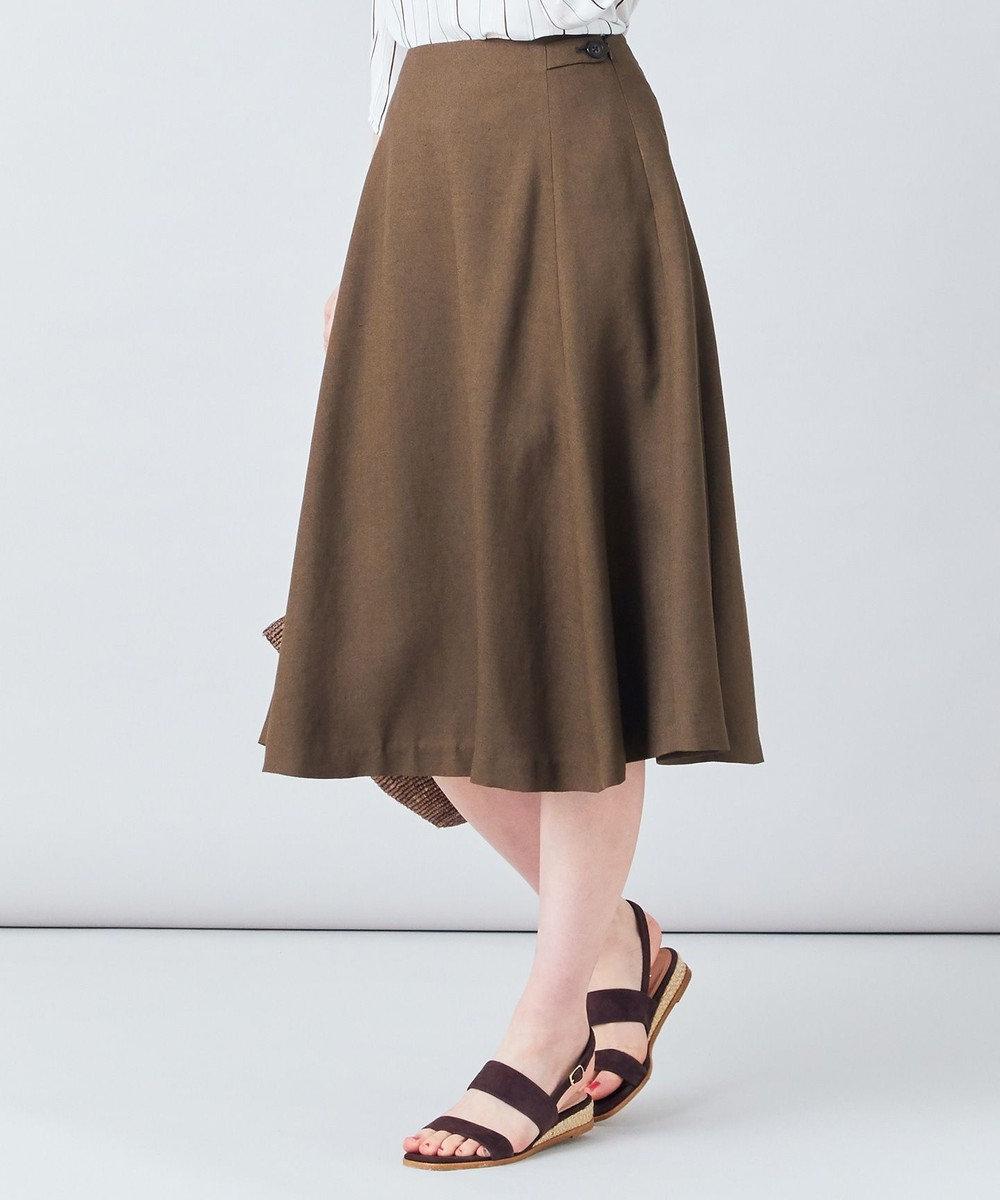 J.PRESS LADIES 【洗える】アイアスソフトクロス スカート ブラウン系
