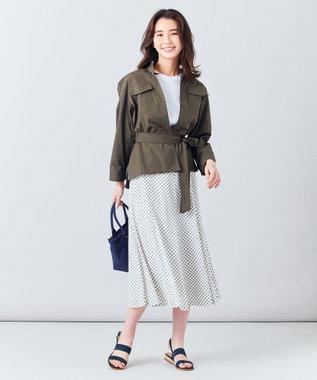 J.PRESS LADIES 【洗える】アンティークデシン小紋プリント スカート アイボリー系5