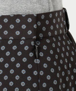 J.PRESS LADIES 【洗える】アンティークデシン小紋プリント スカート ダークブラウン系5