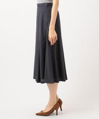 J.PRESS LADIES 【洗える】アンティークデシン小紋プリント スカート ネイビー系5